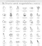 Vector fruits and vegetables ultra modern outline line icons for web and apps. Stock Photography