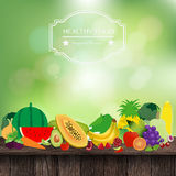 Vector fruits and vegetables on wooden table. Fruits and vegetables on wooden table, With fresh spring green bokeh and sunlight background, Vector illustration royalty free illustration