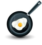 Vector frying pan with eggs  Stock Photography