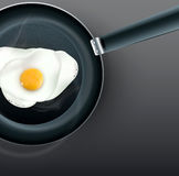 Vector frying pan with fried eggs Stock Images