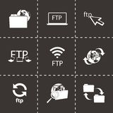 Vector FTP  icons set. On black background Royalty Free Stock Photo