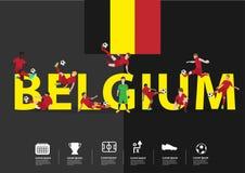 Vector Fußballspieler in der Aktion auf Belgien-Text Stockfotografie