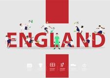 Vector Fußballspieler in der Aktion auf England-Text Stockbild