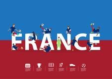 Vector Fußballspieler in der Aktion auf Frankreich-Text Lizenzfreies Stockfoto