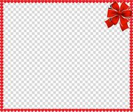 Vector full-frame border with red cartoon hearts. And festive ribbon in the corner isolated on transparent background with copy space. Valentines Day vector Royalty Free Stock Photos