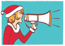 Vector full isolated portrait of a beautiful woman in christmas clothes with megaphone. Royalty Free Stock Photos