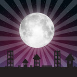 Vector Full Moon Illustration. With Stars above City Stock Photo