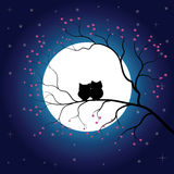 Vector Full Moon Illustration with Stars and Trees. Full Royalty Free Stock Photography