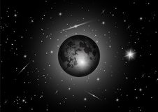 Vector Full moon with star at dark night sky background. Lunar eclipse is an astronomical phenomenon. Black and white color background royalty free illustration