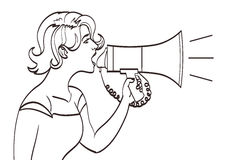 Vector full  portrait of a beautiful woman shouting with a megaphone. Lineart drawing, eps 10 Stock Photo