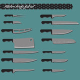 Vector full set kitchen knives Royalty Free Stock Image