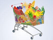 Vector full supermarket cart Royalty Free Stock Images