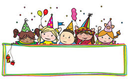 Vector fun birthday kids hiding by colorful frame. Royalty Free Stock Image
