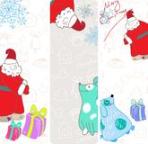 Vector fun christmas banners with blue dogs Stock Photo