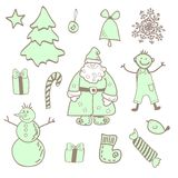 Vector fun christmas icons with a boy Royalty Free Stock Photo