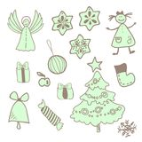 Vector fun christmas icons with a girl Royalty Free Stock Photo