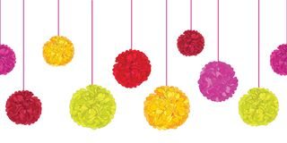 Vector Fun Colorful Birthday Party Paper Pom Poms Set On Strings Horizontal Seamless Repeat Border Pattern. Great for Stock Photo