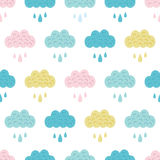 Vector Fun Colorful Clouds Seamless Pattern Stock Photography
