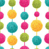 Vector Fun Colorful Decorative Hanging Pompoms Seamless Repeat Pattern. Great for handmade cards, invitations, wallpaper Stock Photography