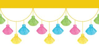 Vector Fun Colorful Decorative Tassels Set Horizontal Seamless Repeat Border Pattern. Great for handmade cards Royalty Free Stock Photos