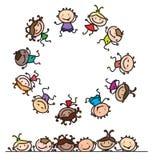 Vector fun, dancing multi-ethnic kids. Royalty Free Stock Images