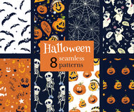 Vector Fun Helloween Pumpkins Skeleton Ghost Nine. Set Seamless Pattern. Isla Vista California. Dancing spirits graphic design Stock Photo