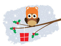 Vector Fun Owl. Vector illustration of a tree with owl Christmas background royalty free illustration