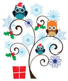 Vector Fun Owl. Vector illustration of a tree with owl Christmas background vector illustration