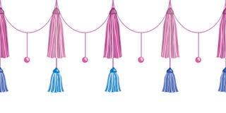 Vector Fun Pink Decorative Long Tassels Set Horizontal Seamless Repeat Border Pattern. Great for handmade cards Royalty Free Stock Photo