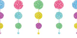 Vector Fun Set of Hanging Pastel Colorful Birthday Party Paper Pom Poms and Beads Horizontal Seamless Repeat Border Stock Image