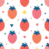 Vector fun strawberries seamless pattern Stock Photo