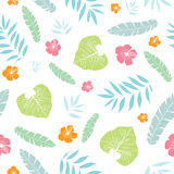 Vector fun tropical summer hawaiian seamless pattern with tropical plants, leaves, and hibiscus flowers on white Royalty Free Stock Photography