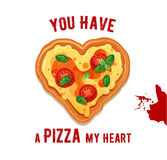 Vector fun Valentine Day card You have a Pizza my heart. Stock Image