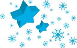 Vector fundo dos flocos da estrela azul e da neve Fotografia de Stock Royalty Free