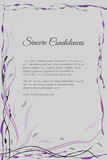 Vector funeral card with elegant abstract floral motif Royalty Free Stock Image