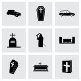Vector funeral icons set Stock Photos