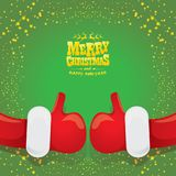 Vector funky cartoon Santa Claus like hand icon  on green background with stars . thumbs up santa hand symbol Royalty Free Stock Photos