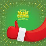 Vector funky cartoon Santa Claus like hand icon  on green background with stars . thumbs up santa hand symbol Royalty Free Stock Photo