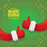 Vector funky cartoon Santa Claus like hand icon  on green background with stars . thumbs up santa hand symbol Stock Photo