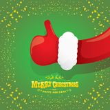 Vector funky cartoon Santa Claus like hand icon  on green background with stars . thumbs up santa hand symbol Stock Images