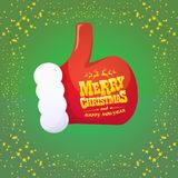 Vector funky cartoon Santa Claus like hand icon  on green background with stars . thumbs up santa hand symbol Royalty Free Stock Images