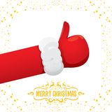 Vector funky cartoon Santa Claus like hand icon isolated on white background with stars . thumbs up santa hand symbol Royalty Free Stock Photos