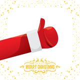 Vector funky cartoon Santa Claus like hand icon isolated on white background with stars . thumbs up santa hand symbol Stock Photography