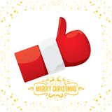 Vector funky cartoon Santa Claus like hand icon isolated on white background with stars . thumbs up santa hand symbol Stock Photo