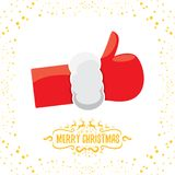Vector funky cartoon Santa Claus like hand icon isolated on white background with stars . thumbs up santa hand symbol Stock Images
