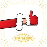Vector funky cartoon Santa Claus like hand icon isolated on white background with stars . thumbs up santa hand symbol Royalty Free Stock Image