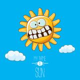 Vector funky cartoon style summer sun character on blue sky background. My name is sun concept illustration. funky kids. Vector cartoon style summer sun vector illustration