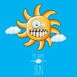 Vector funky cartoon style summer sun character on blue sky background. My name is sun concept illustration. funky kids. Vector cartoon style summer sun stock illustration