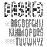 Vector funky condensed capital English alphabet letters. Collection. Rounded bold retro font, typescript for use in logo design. Made with parallel dashed lines Stock Photos