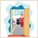 Vector funny airplane stewardess invites to travel. Stock Photography